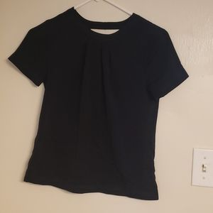 J Crew black pleated shirt with cutout back